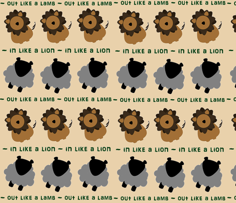 In Like a Lion, Out Like  A Lamb fabric by sarahhauge on Spoonflower - custom fabric