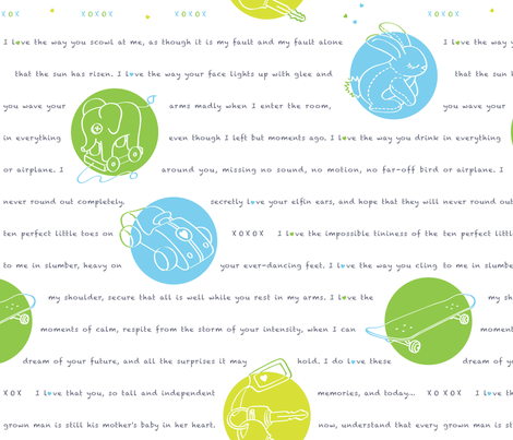 1996, A Love Letter - in whiteboard, large fabric by hootenannit on Spoonflower - custom fabric