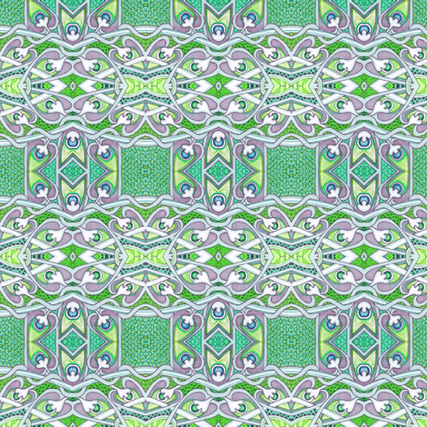 Leave It To the Leprechauns (a green plaid of Celtic knot stripes) fabric by edsel2084 on Spoonflower - custom fabric