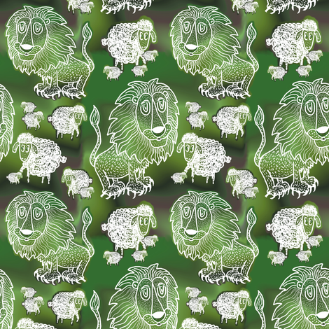 The Lion and the Lamb fabric by amy_g on Spoonflower - custom fabric