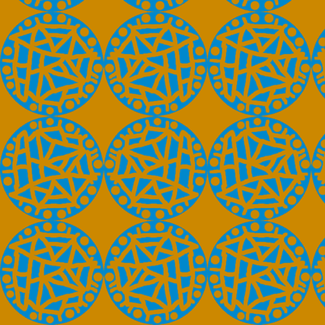 Retro Circle Stamp - Rust and Blue Simple fabric by telden on Spoonflower - custom fabric