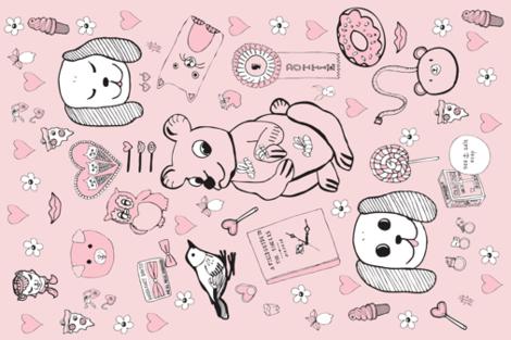 Pygmy Hippo Scarf - 18x27 - pink fabric by hotdogjenny on Spoonflower - custom fabric