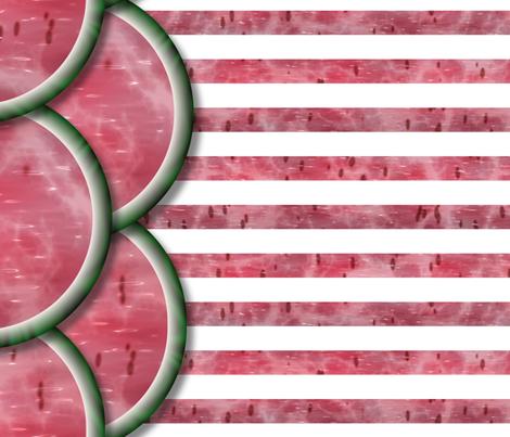 Watermelon Mania - Double Melon - Simple Stripe - Border fabric by bonnie_phantasm on Spoonflower - custom fabric
