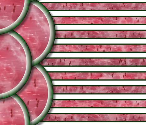 Watermelon Mania - Double Melon - Bordered Stripe fabric by bonnie_phantasm on Spoonflower - custom fabric