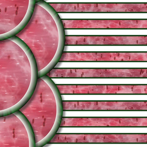 Watermelon Mania - Double Melon - Bordered Stripe