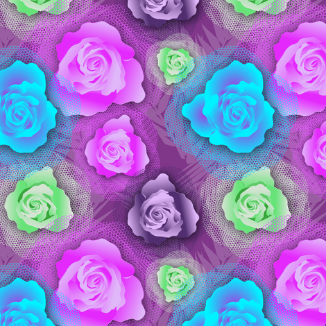 Roses&Tulle fabric by vannina on Spoonflower - custom fabric