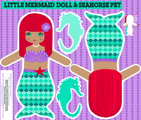 mermaids red with sea horse, softie dolls fabric by katarina on Spoonflower - custom fabric