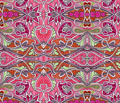 Strawberry Pie Oh My (scallops and tendrils in red and mint) fabric by edsel2084 on Spoonflower - custom fabric