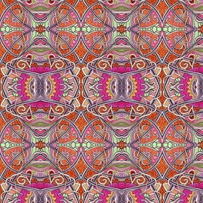 Tangled Tendrils (an orange, paisley, and spade abstract)