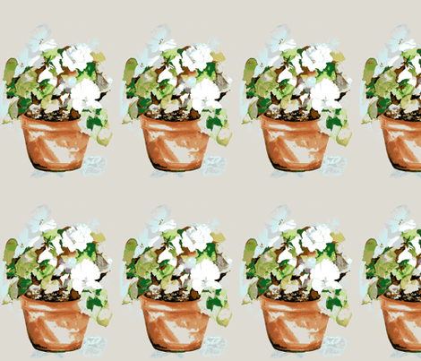 Pot of Petunias large fabric by karenharveycox on Spoonflower - custom fabric