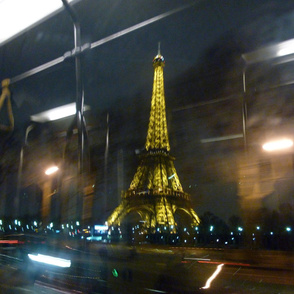 Eiffel Tower from the 72 bus, Paris