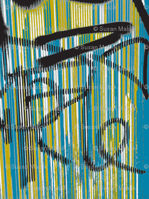 Symphony of Tagging in Teal, Ochre, Black and White, variation