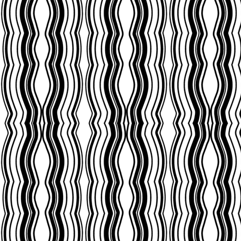 Zoom Wavy Stripes Vertical - Black and White - Medium fabric by telden on Spoonflower - custom fabric