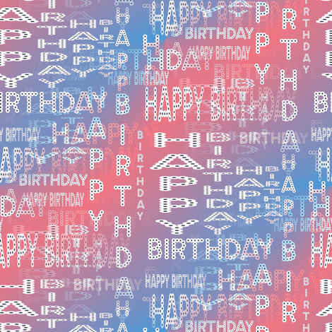 Happy Birthday Marquee Words - Party Colors fabric by telden on Spoonflower - custom fabric