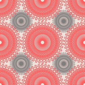 Shabby Chic Doilies - Salmon Pink and Gray