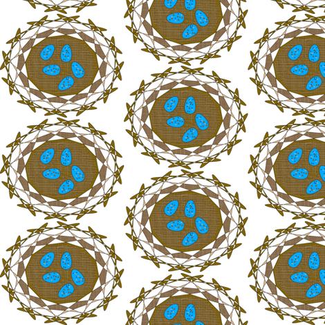 Robin's Nest Eggs - White - Medium fabric by telden on Spoonflower - custom fabric