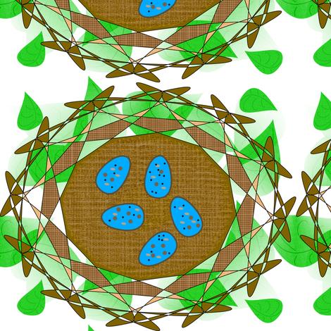 Robin's Nest Eggs - Green - Large fabric by telden on Spoonflower - custom fabric