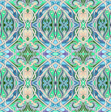 Nouveau Paisley Ruminations on a Dining Room Chair Back fabric by edsel2084 on Spoonflower - custom fabric
