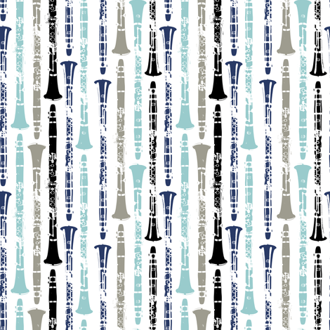 Grunge Clarinets - Shades of Blue fabric by marchingbandstuff on Spoonflower - custom fabric