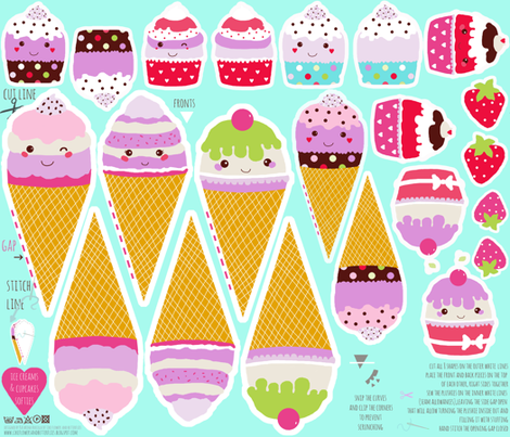 kawaii ice cream cones and cupcakes play softies food fabric by katarina on Spoonflower - custom fabric