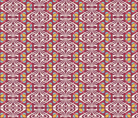 NOUVEAU_FLOWER_BURGUNDY fabric by natasha_k_ on Spoonflower - custom fabric