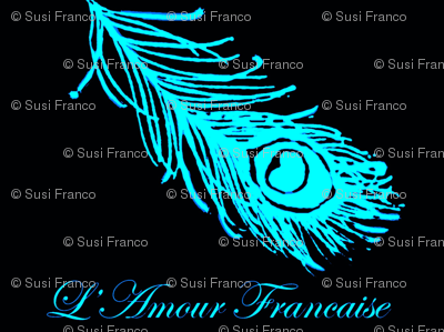 Peacock Feather and French Script in Turquoise