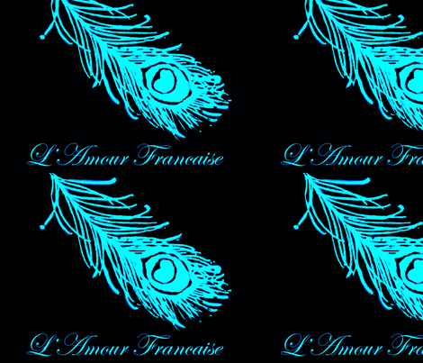 Peacock Feather and French Script in Turquoise fabric by susifranco on Spoonflower - custom fabric