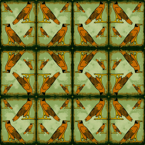 Egyptian Falcon (Green) fabric by ravynscache on Spoonflower - custom fabric