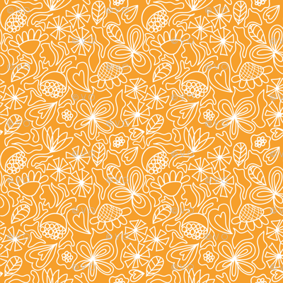 Gold and white floral ditsy