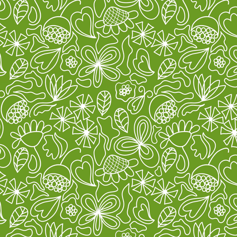 Snowflake flowers on green fabric by vo_aka_virginiao on Spoonflower - custom fabric