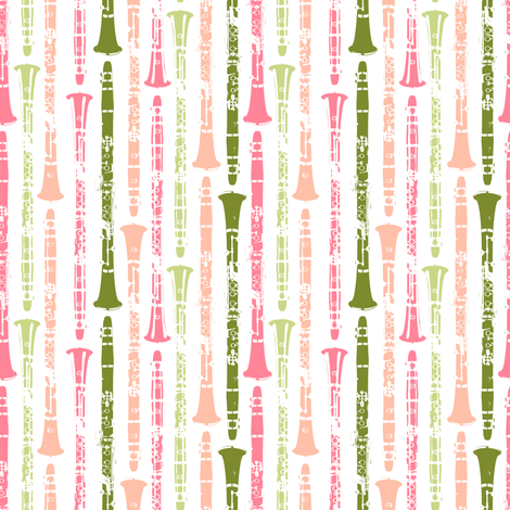 Grunge Clarinets - Shades of Watermelon fabric by marchingbandstuff on Spoonflower - custom fabric