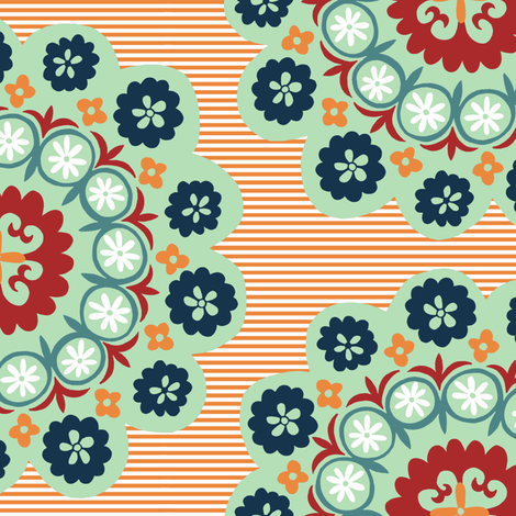 Lazy Suzani - Orange and mint fabric by elephantandrose on Spoonflower - custom fabric