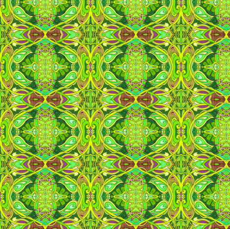 Psychedelic Gardens (a twisting vines abstract in green) fabric by edsel2084 on Spoonflower - custom fabric