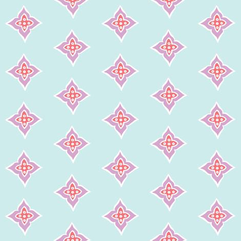 Turkish Tile (salmon, lt. aqua + lavender) fabric by pattyryboltdesigns on Spoonflower - custom fabric