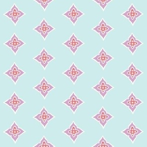 Turkish Tile (salmon, lt. aqua + lavender)