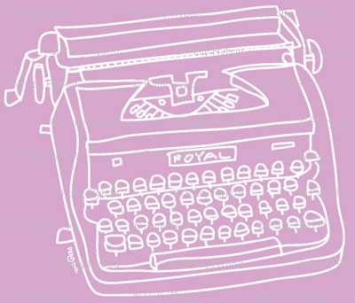 Royal Typewriter (white + lavender)