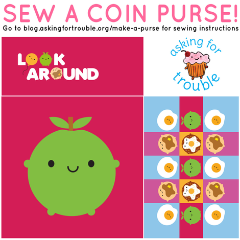 Kawaii Apple Coin Purse - Cut & Sew Pattern fabric by marcelinesmith on Spoonflower - custom fabric