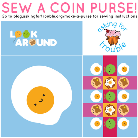 Kawaii Fried Egg Coin Purse - Cut & Sew Pattern fabric by marcelinesmith on Spoonflower - custom fabric
