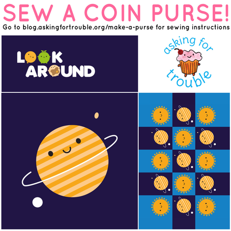 Kawaii Planet Coin Purse - Cut & Sew Pattern fabric by marcelinesmith on Spoonflower - custom fabric