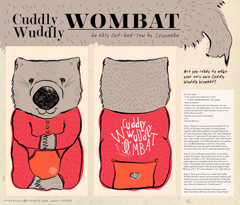 Cuddly Wuddly Wombat fabric by spoonnan on Spoonflower - custom fabric