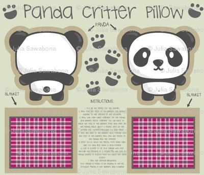 Panda bear critter pillow