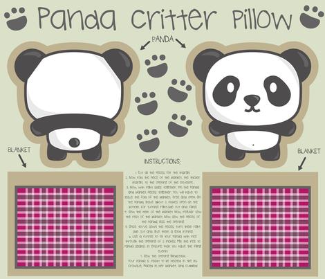 Panda bear critter pillow fabric by sawabona on Spoonflower - custom fabric