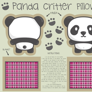 Panda bear critter pillow