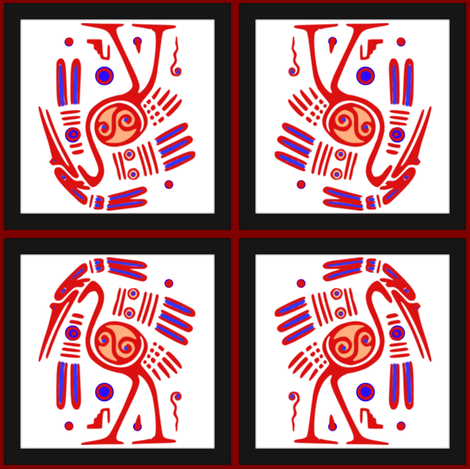 Tribal Heron (red) fabric by ravynscache on Spoonflower - custom fabric