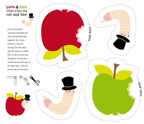 apple and worm critter pillow DIY fabric by elinvanegmond on Spoonflower - custom fabric