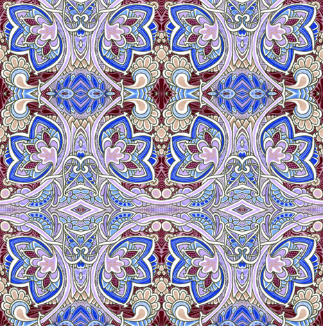 Misty Spring Morning (a nouveau deco kaleidoscope floral) fabric by edsel2084 on Spoonflower - custom fabric