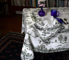 Black Toile Tablecloth and napkin fabric panel -- greyhounds