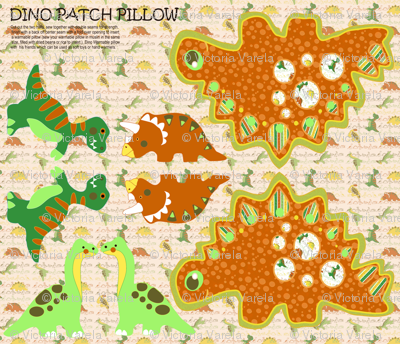 Dino patch pillow