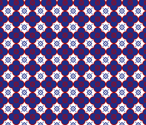 Clover6RedWhitenandBlue fabric by mgterry on Spoonflower - custom fabric