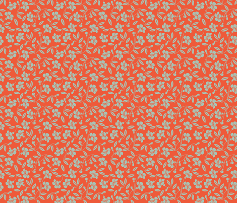 Japanese blossom orange fabric by cjldesigns on Spoonflower - custom fabric